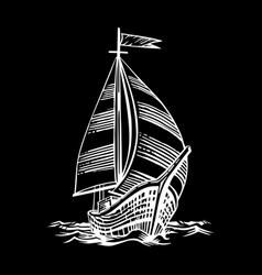 sailing ship floating vector image