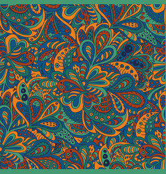 seamless pattern ethnic floral blue and brown vector image