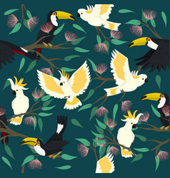 seamless pattern with toucans and cockatoo vector image
