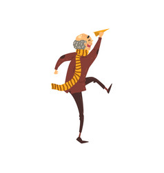 Senior man running with a paper plain grandpa vector