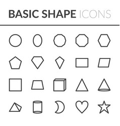 Set basic shape icons line shape vector