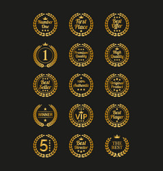 Set golden laurel wreaths on black background vector