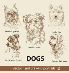 set hand drawing dogs 2 vector image