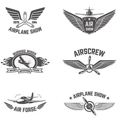 Set of airplane show labels isolated on white vector