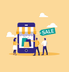 shopping online with smartphone and mini people vector image