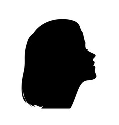 silhouette of a girl in profile vector image