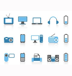 simple electronic iconsblue color series vector image