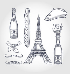 sketch set french attributes vector image