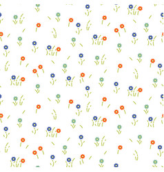 small flowers line floral tender pattern seamless vector image