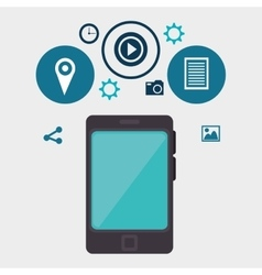 Smartphone and social media icon vector