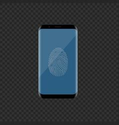 Smartphone with fingerprint scan vector