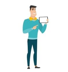 Smiling businessman holding tablet computer vector