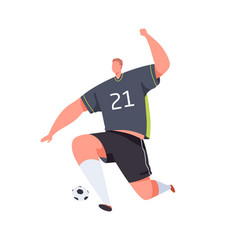 soccer striker running and kicking ball with foot vector image
