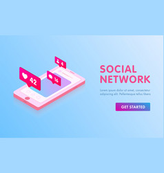social media isometric concept landing page vector image