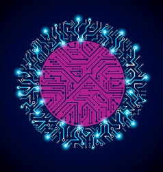 Sparkling circuit board circle digital vector