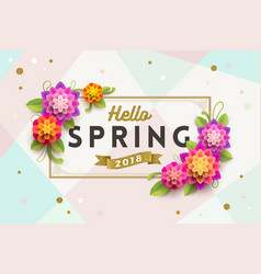 Spring greeting card with ornamental frame vector