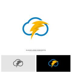 Storm cloud logo design concept thunder cloud vector