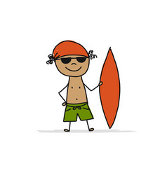 surfer with surfboard sketch for your design vector image