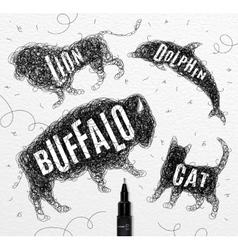 Tangled line buffalo black vector image