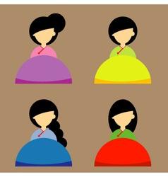 The Korea girl design set vector