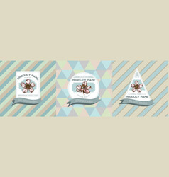 three colored labels with almond vector image