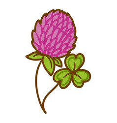 Trefoil flower icon hand drawn style vector
