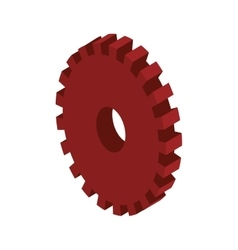 Tridimensional silhouette red gear wheel icon vector
