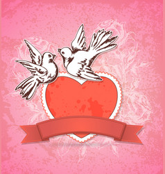 two white doves and red heart vector image