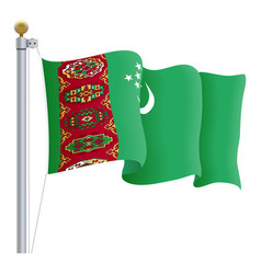waving turkmenistan flag isolated on a white vector image