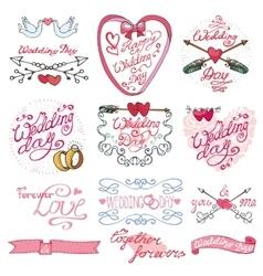 Wedding day calligraphy setVintage decorative vector image