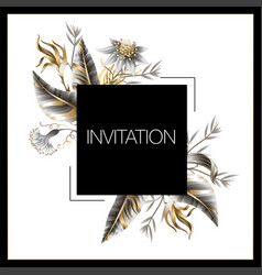 wedding invitation with golden and metallic leaves vector image
