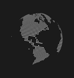 White dotted 3d earth world map globe in black vector