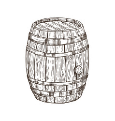 wooden keg for alcohol drinks isolated graphic art vector image