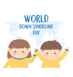 world down syndrome day funny girl and boy map vector image