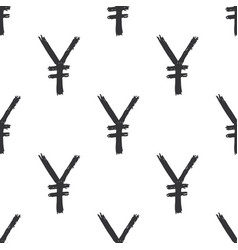 yen sign icon brush lettering seamless pattern vector image
