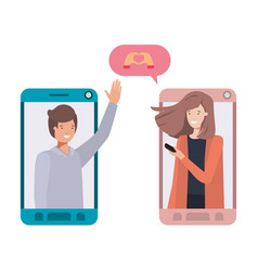 young couple in smartphone with speech bubble vector image