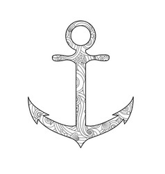 coloring page with anchor isolated on white vector image vector image