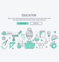 Education and learning line art modern vector