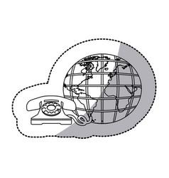 figure symbol global communication telephone icon vector image