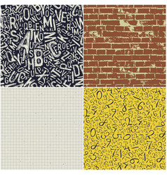 four educational seamless patterns collection vector image vector image