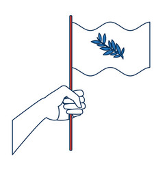 hand waving a peace flag symbol vector image