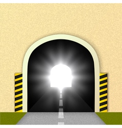 Road tunnel the glare of headlights vector image