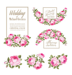 set of wedding invitation card the rose elegant vector image vector image