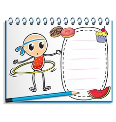 A notebook with a sketch of a young child with a vector image vector image