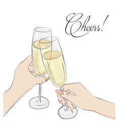 cheers glasses with champagne vector image
