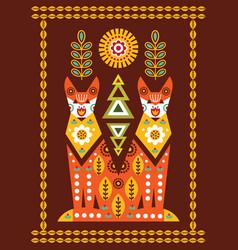 folk card in scandinavian style vector image vector image