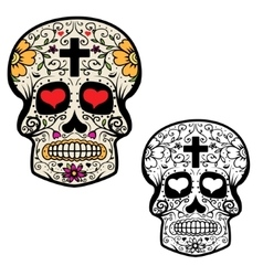 Set of sugar skulls isolated on white background vector image vector image