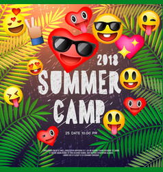 themed summer camp poster with emoji smile faces vector image
