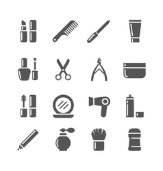 Cosmetics and beauty icons vector image