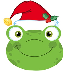 Cute Frog Smiling Head With Santa Hat vector image vector image
